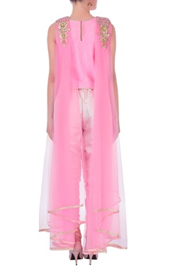 Pink drape top with dhoti pants