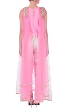 pink drape top with dhoti pants