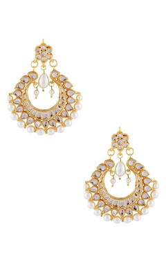 Gold-plated earrings with white studs