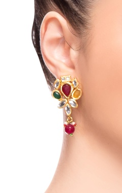 Multicolored earrings with white studs