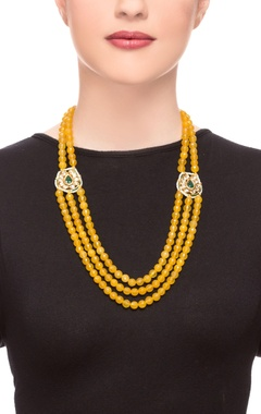 yellow three-tier bead necklace