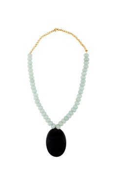mint green & black statement necklace