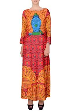 Multicolour maxi dress in Egyptian print