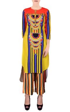 Multi-colored asymmetric kurta set