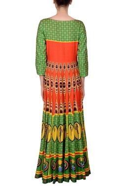 Green & orange printed kalidar kurta