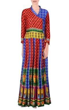 Multi-colored printed angrakha kurta