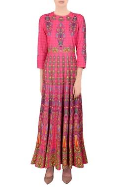 Blush pink printed kalidar kurta
