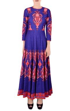 Blue printed kalidar kurta