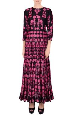 Black & pink printed kalidar kurta