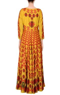 Yellow printed kalidar kurta