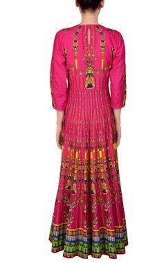 Pink printed kalidar kurta