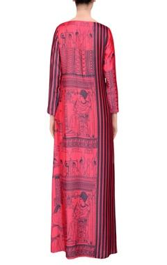 Pink & black printed maxi dress