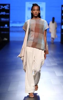 Cream striped khadi pants