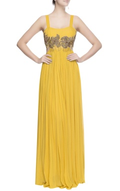 Yellow gown with metal embroidery