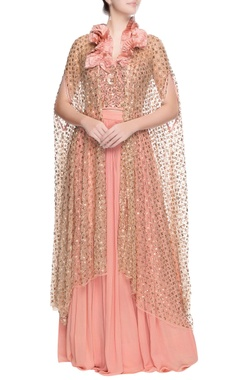 Rose pink lehenga with cardigan drape