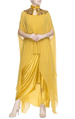 Yellow drape blouse & dhoti pants