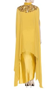 yellow drape blouse & dhoti pants