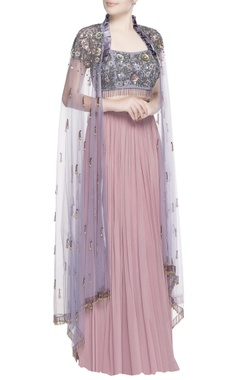 Pink lehenga with purple blouse & cape