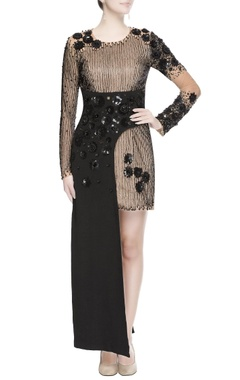 Black maxi gown with sequin work