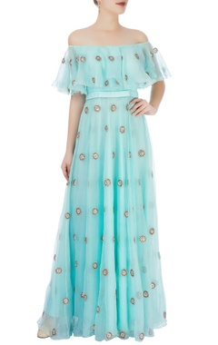 Ice blue off-shoulder maxi with embroidery