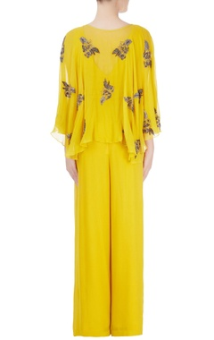 Yellow jumpsuit with embroidery