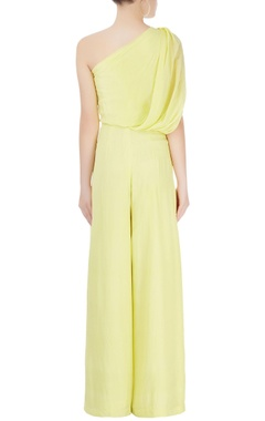 Lime green jumpsuit with bird motif