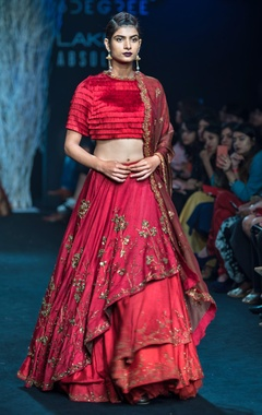 Red asymmetrical lehenga with organza dupatta