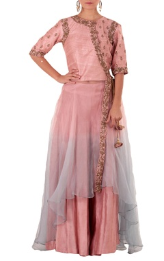 Pink & blue double layer anarkali