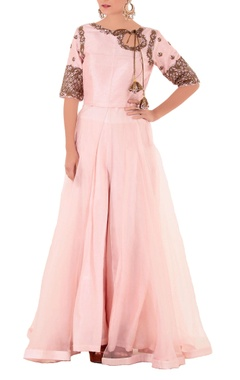 Pink thread knot kurta with flared pants