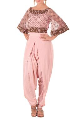 Rose pink kurta with draped dhoti pants