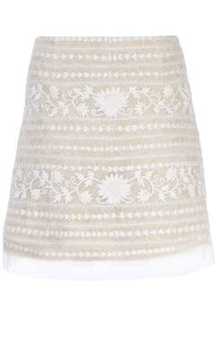white floral embroidered short skirt