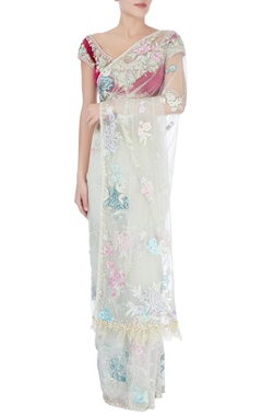 Dilnaz Karbhary Mint floral applique sari & blouse
