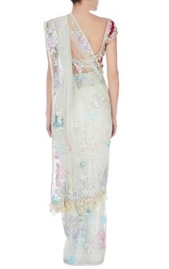 Mint floral applique sari & blouse