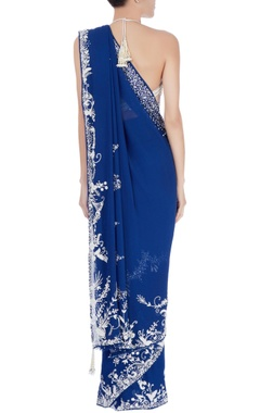 Blue sequin border sari & white blouse