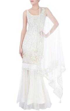 White sequin embellished kurta & sharara pants