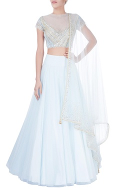 Blue sequin embellished lehenga set