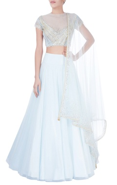Blue sequin embellished lehenga