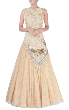 Beige sequin embellished gown