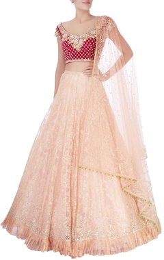 Peach flared lehenga & deep plum blouse