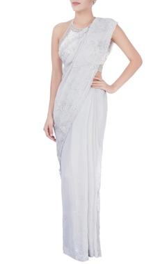 Dilnaz Karbhary Grey sequin embellished sari & blouse