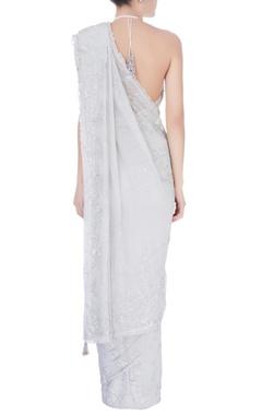 Grey sequin embellished sari & blouse