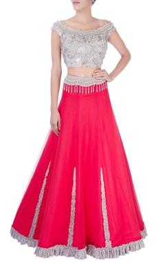 Dilnaz Karbhary Watermelon red ruffle lace lehenga & blouse