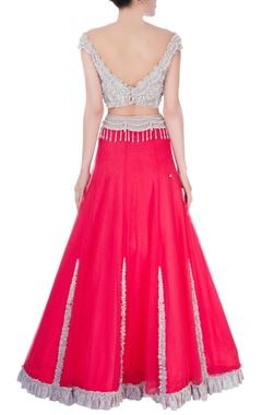 Watermelon red ruffle lace lehenga & blouse