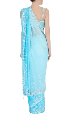 blue sequin embellished sari