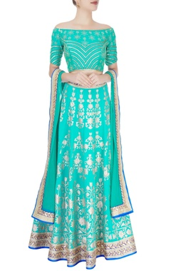 turquoise blue embellished lehenga set