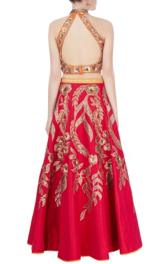 Red & orange embroidered lehenga set