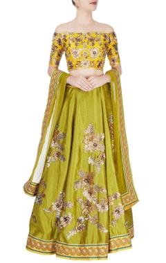 mustard yellow & mehendi green embellished lehenga set