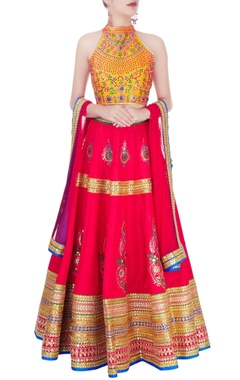 Mustard yellow & red embellished lehenga set