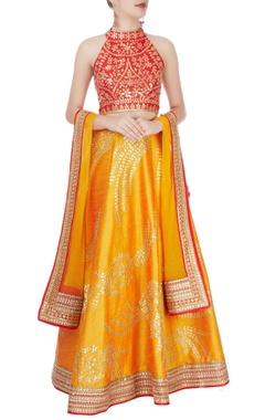 Red & mustard yellow embellished lehenga set
