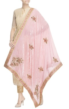 pink embroidered velvet dupatta